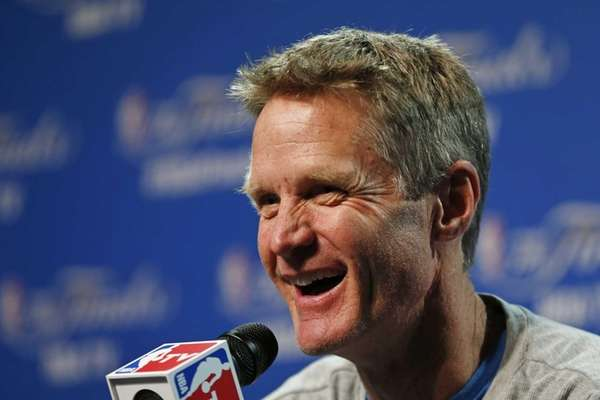 Golden State Warriors head coach Steve Kerr answers