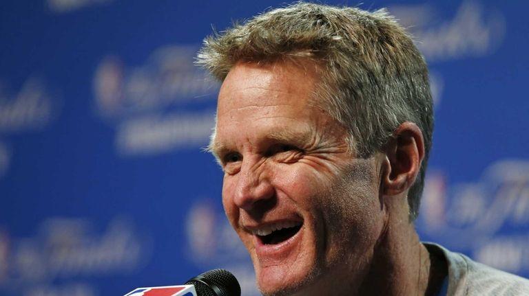 Golden State Warriors head coach Steve Kerr answers