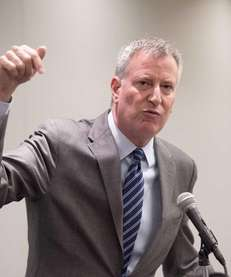 Mayor de Blasio at a press conference hosted