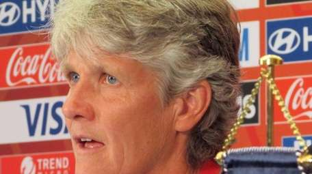 Sweden coach Pia Sundhage speaks during a news