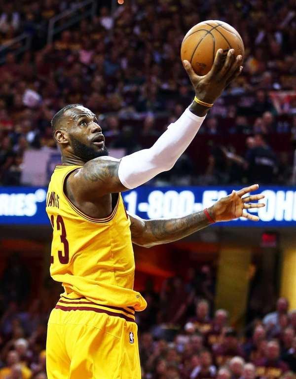 LeBron James #23 of the Cleveland Cavaliers goes
