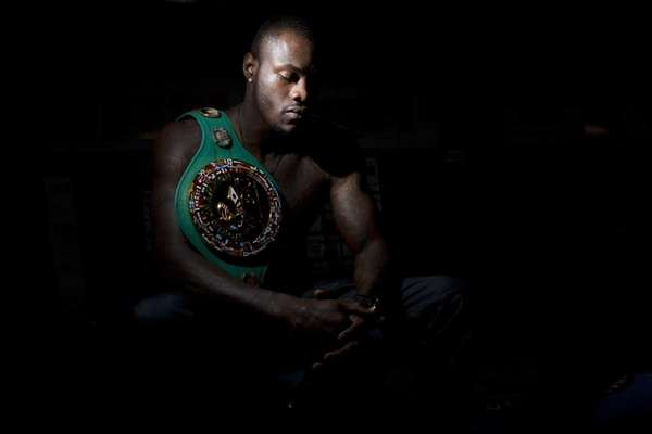 WBC heavyweight boxing champion Deontay Wilder poses for