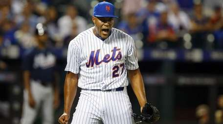 Jeurys Familia of the Mets reacts after a