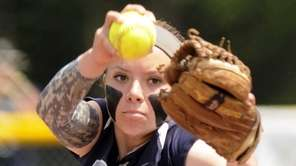 Eastport-South Manor's Marissa Rizza pitches against Liverpool during