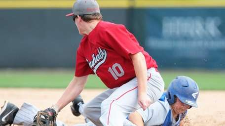 Southold first baseman Dylan Clausen tries to swipe