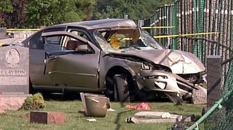 Suffolk County police said the car crashed through