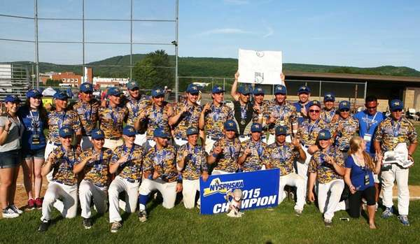 Mattituck's baseball team poses after winning the New