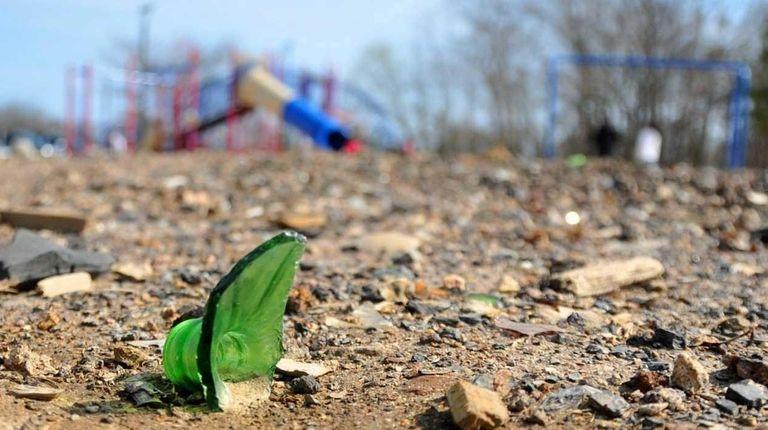 Debris at Roberto Clemente Park in Brentwood is