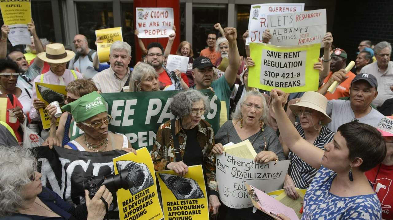 Tenants and their supporters call for Gov. Andrew