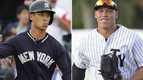 Yankees prospects Rob Refsnyder, left, and Aaron Judge