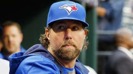 R.A. Dickey of the Toronto Blue Jays looks