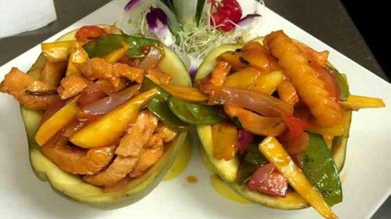 Thai spicy mango chicken is on the menu