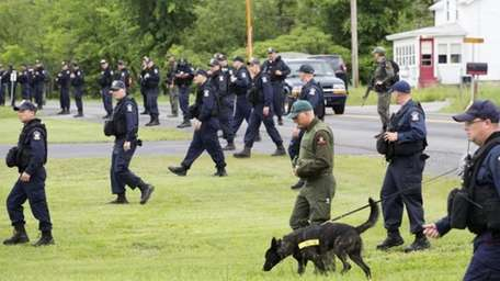 Teams of corrections officers and a police dog