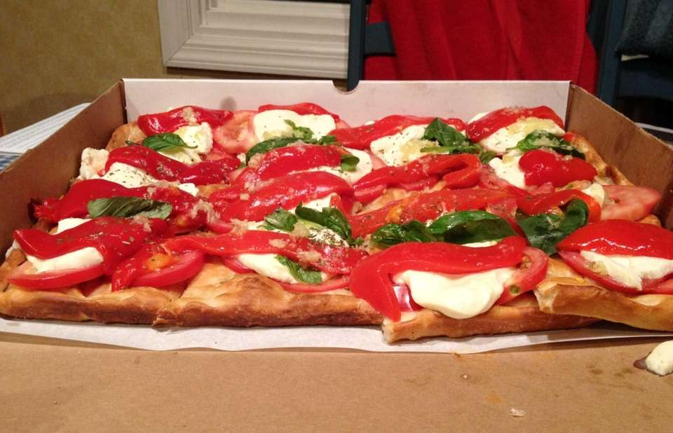 The Caprese pizza at Mamma Lombardi's in Holbrook