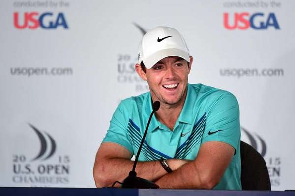 Rory McIlroy is interviewed during a press conference