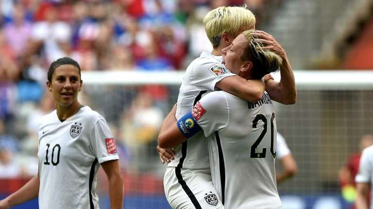 Abby Wambach of the United States celebrates with