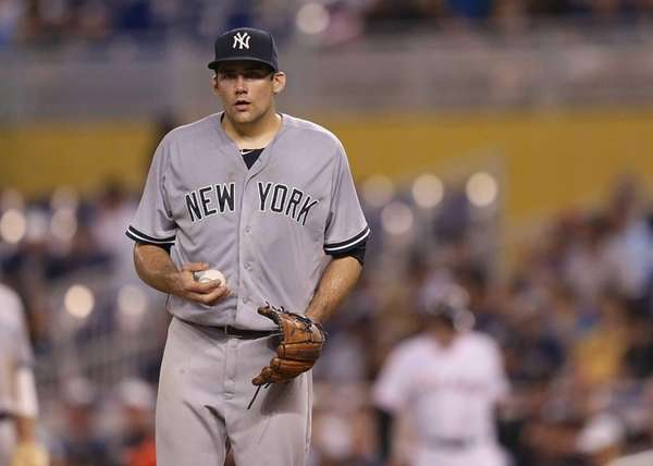 Nathan Eovaldi of the New York Yankees reacts