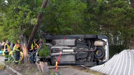 A driver flipped her car in North Lindenhurst