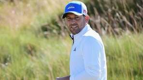 Sergio Garcia walks during a practice round prior
