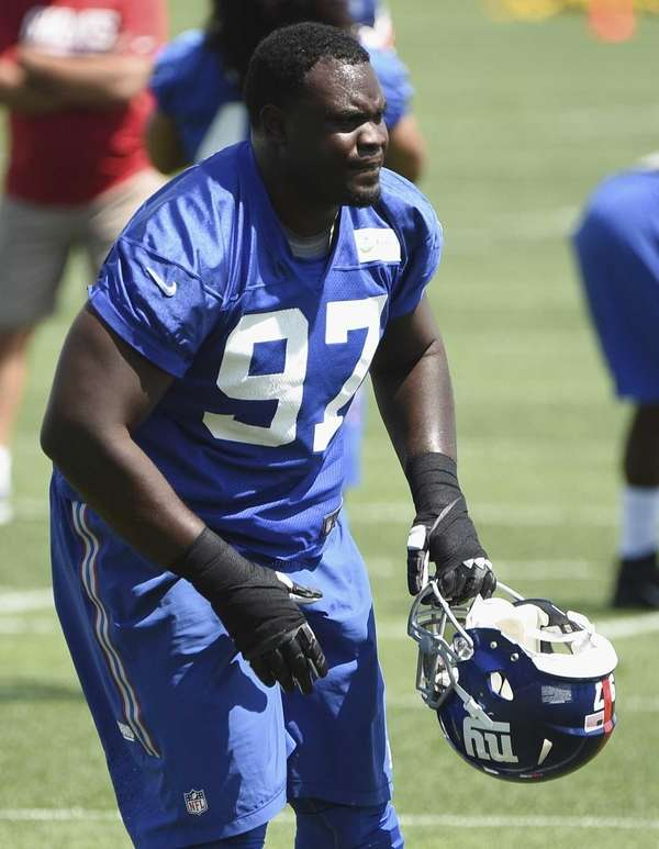 New York Giants defensive tackle Kenrick Ellis looks