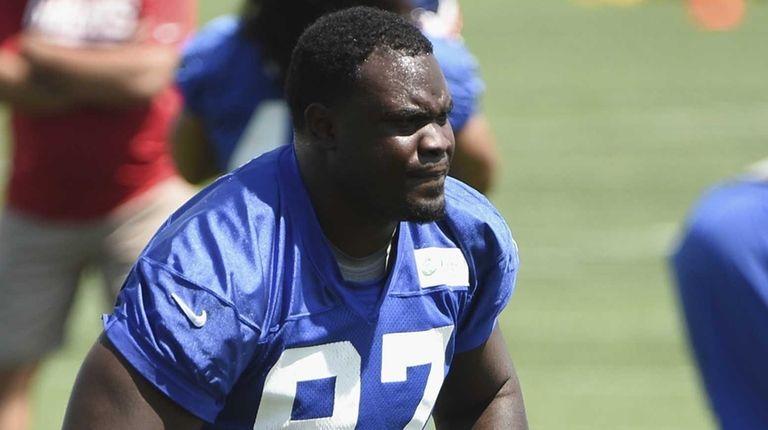 New York Giants defensive tackle Kenrick Ellis looks