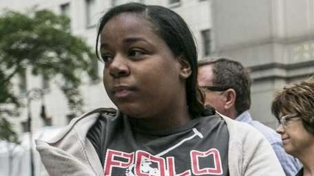 Mahogany Strickland exits a federal courthouse in Manhattan,