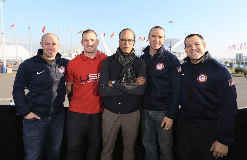 (L-R) Team USA Bobsledders Nick Cunningham, Justin Olsen,