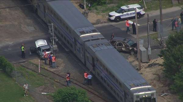 A Long Island Rail Road train struck two
