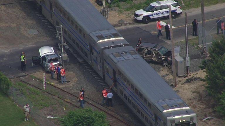 A Long Island Rail Road train struck two