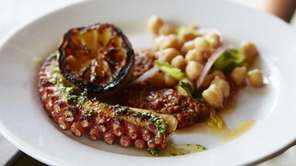 Charred octopus with charred lemon and chickpeas is