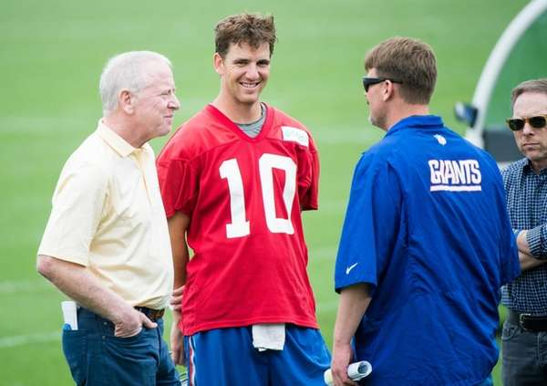 New York Giants quarterback Eli Manning and his