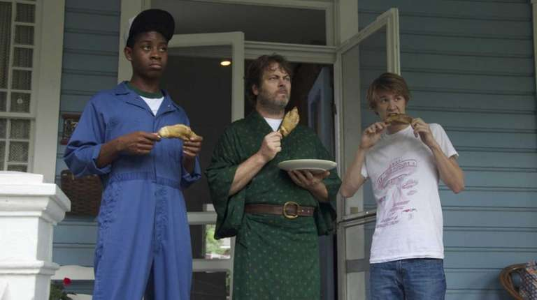 RJ Cyler, left, Nick Offerman and Thomas Mann