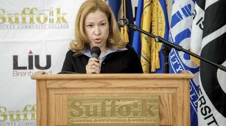 Suffolk County Community College trustee Dafny Irizarry stepped