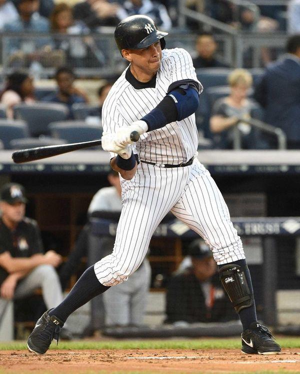 New York Yankees designated hitter Alex Rodriguez bats