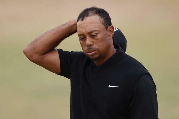 Tiger Woods of the United States reacts on