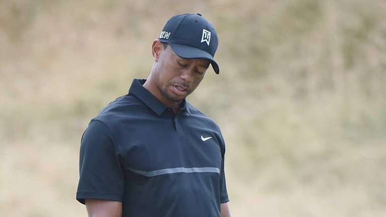 Tiger Woods of the United States reacts to