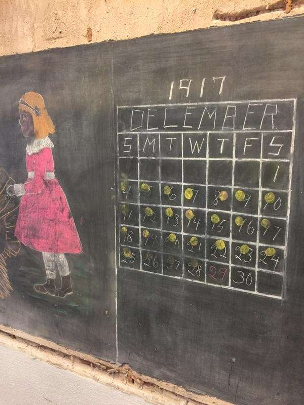 An image of a chalkboard drawing nearly 100
