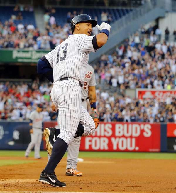 Alex Rodriguez of the Yankees reacts after career