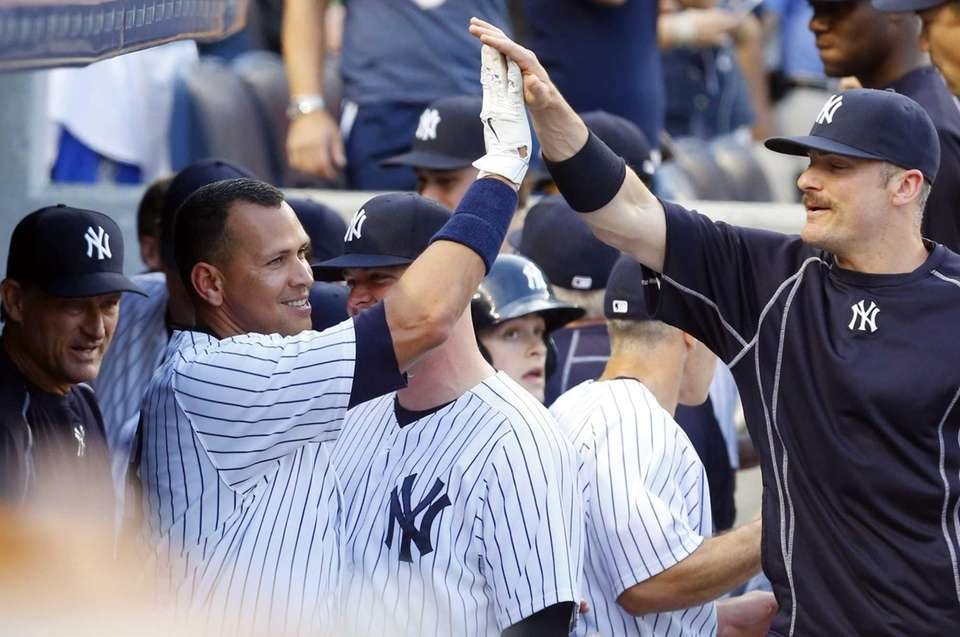 Alex Rodriguez #13 of the Yankees celebrates career