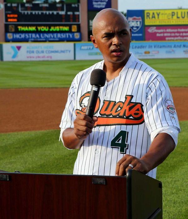 Former Long Island Ducks player Justin Davies speaks