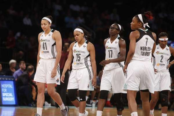 New York Liberty teammates, from left, Kiah Stokes,