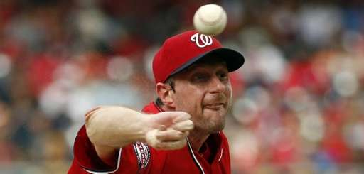 Washington Nationals starting pitcher Max Scherzer throws during