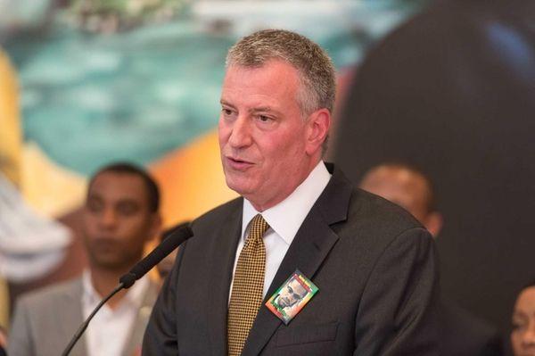 Mayor Bill de Blasio speaks at the Shabazz