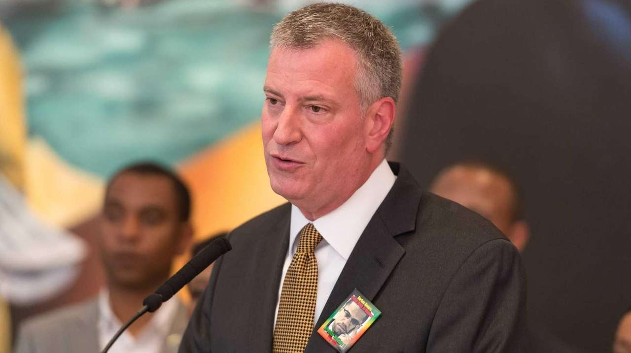 Mayor Bill de Blasio speaks at the Shabazz