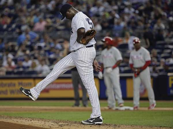 New York Yankees pitcher Michael Pineda reacts after