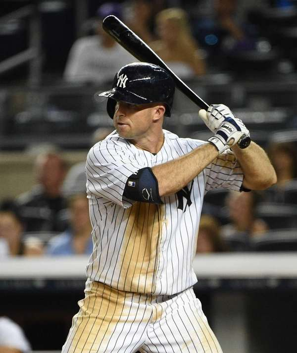 New York Yankees left fielder Brett Gardner looks