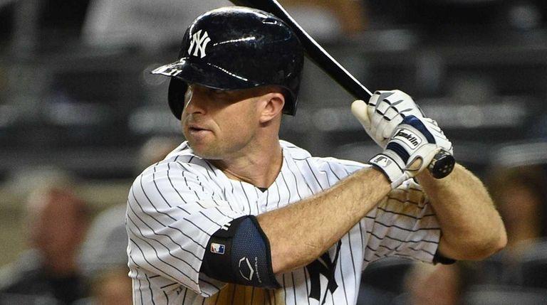 New York Yankees left fielder Brett Gardner looks