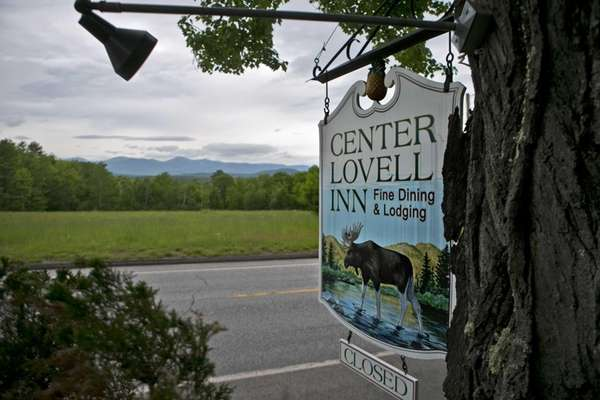 The Center Lovell Inn's roadside sign is seen