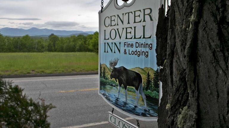 The Center Lovell Inn's roadside sign is seen