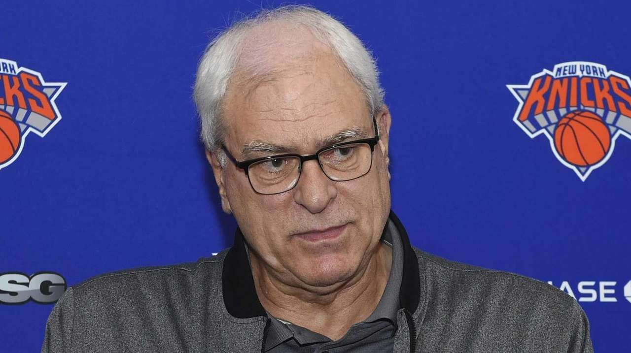 New York Knicks president Phil Jackson speaks at